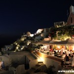 Restaurant at night, Oia, Santorini