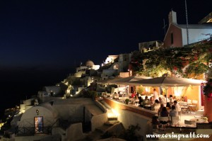 Restaurant at night, Oia, Santorini