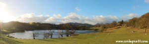 Loughrigg Tarn with Langdale Pikes behind, Lake District, mountains
