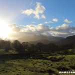 Langdale Pikes from direction of Loughrigg Tarn, Lake District, mountains
