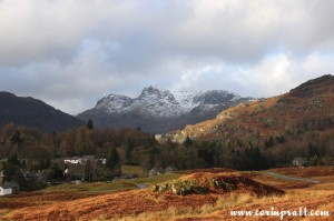 Langdale Pikes from above Elterwater, mountains