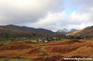 Elterwater with Langdale Pikes behind, mountains