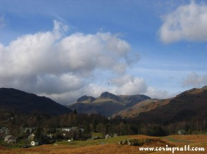 Langdale Pikes from above Elterwater, training aircraft, mountains