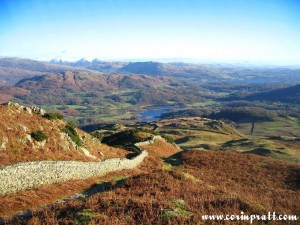 Elter Water and Windermere from Lingmoor Fell, Lake District, mountains