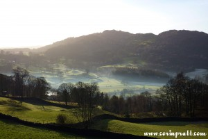 A frosty morning near Loughrigg, Lake District, mountains, fields