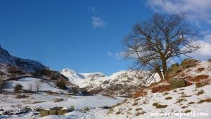 Snowy mountains, Langdales, Lake District