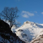 Snowy mountains, Langdales, Lake District