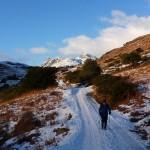 Chris Eley walking away from Langdale Pikes, Lake District, mountains