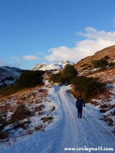 Chris Eley walking away from Langdale Pikes, Lake District, mountains