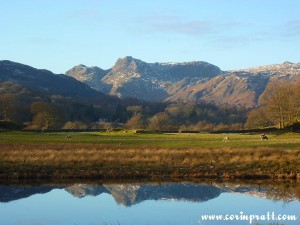 The Langdale Pikes over the River Brathay, Lake District, Mountains