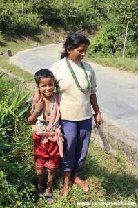 Mother and son in Sikkim, India