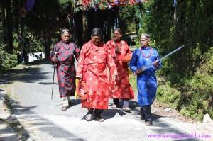 Men with swords, Dussehra, Gangtok, Sikkim, India