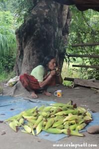 Old lady smoking, Sikkim