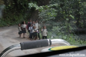 School Children on the road, Sikkim, India
