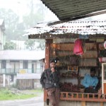 Stall owners in the rain, Yuksom, Sikkim, India