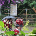 School children in the rain, Yuksom, Sikkim, India