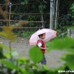Schoolboy in the rain, Yuksom, Sikkim, India