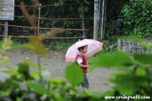 Schoolboy in the rain, Yuksom, Sikkim, India