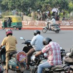 Roundabout, motorbikes, traffic, New Delhi