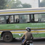 Roundabout, motorbike, bus, traffic, New Delhi