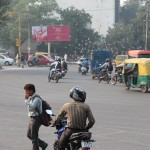 Roundabout, motorbike, traffic, New Delhi