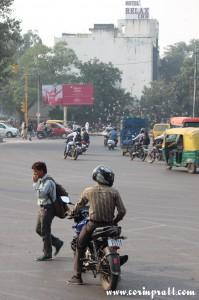 Roundabout, motorbike, traffic, New Delhi