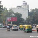 Roundabout, traffic, New Delhi