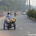 Bicycle traffic, New Delhi, road