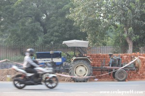 Traffic, tractor, New Delhi, road