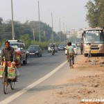 Traffic, bicycle, New Delhi, road