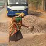 Worker, woman, New Delhi, road