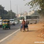 Traffic, bus, bicycle, New Delhi, road