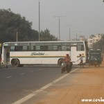 Traffic, bus, roadblock, New Delhi, road
