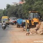 Traffic, child, New Delhi, construction, road