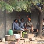 Taxi drivers at rest, New Delhi, road
