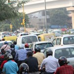 Heavy traffic, New Delhi, road