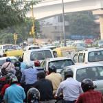 Heavy traffic, New Delhi, road