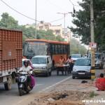 Heavy traffic, veg cart, New Delhi, road