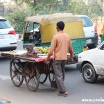 Traffic, veg cart, New Delhi, road